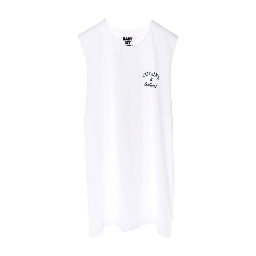 COCAINE & TATTOOS BOYS MUSCLE TEE SMALL PRINTS