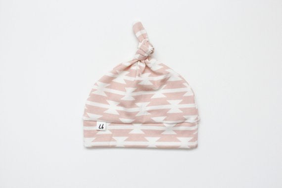 Top Knot Hat - Pink Aztec