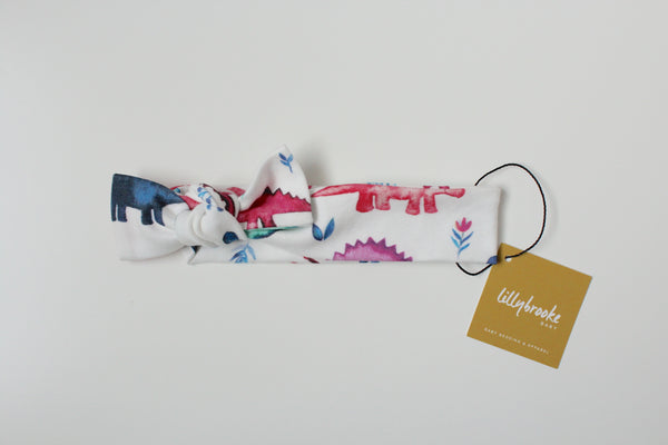 Knotted Headband - Watercolor Dinos
