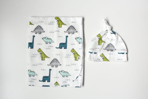 Blue and Green Dino Swaddle