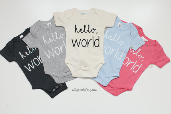 hello, World bodysuit by Urban Baby Co. - 100% Organic Cotton
