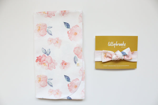 Swaddle Blanket - Watercolor Coral Floral