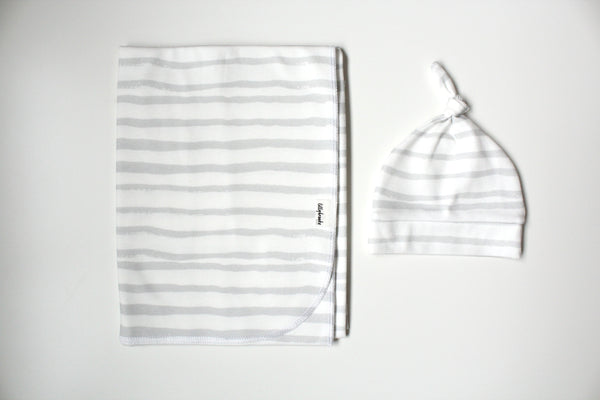 Swaddle Blanket - Messy Stripes Gray