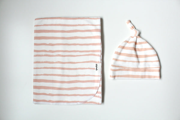 Swaddle Blanket - Messy Stripes Coral