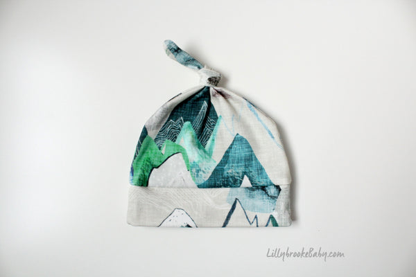 Top Knot Hat - Mountains Blue