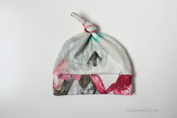 Top Knot Hat - Mountains Pink