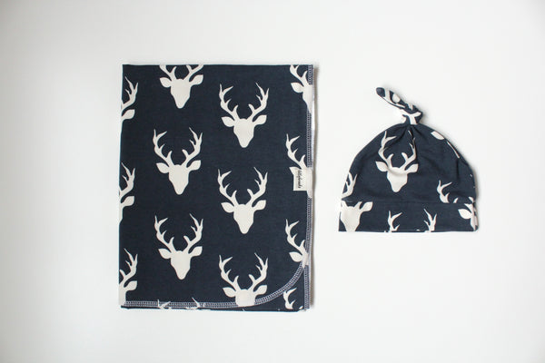 Swaddle Blanket - Navy Deer