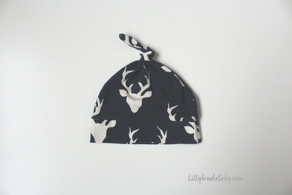 Top Knot Hat - Navy Deer