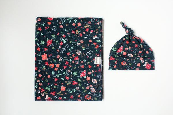 Swaddle Blanket - Navy + Red Floral