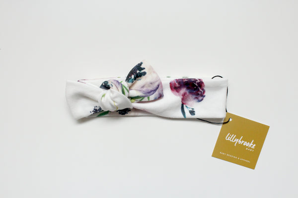 Knotted Headband - Purple Floral