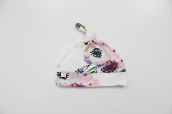 Top Knot Hat -  Purple Floral