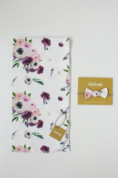 Swaddle Blanket - Purple Floral