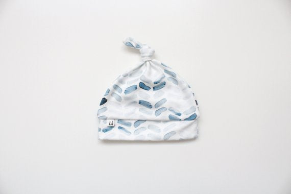 Top Knot Hat - Watercolor Blue Herringbone
