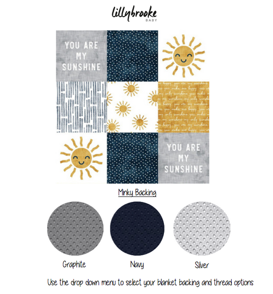 Personalized Blanket - You Are My Sunshine Navy