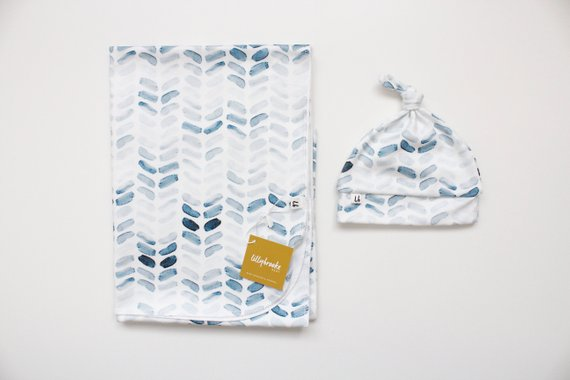 Swaddle Blanket - Watercolor Blue Herringbone