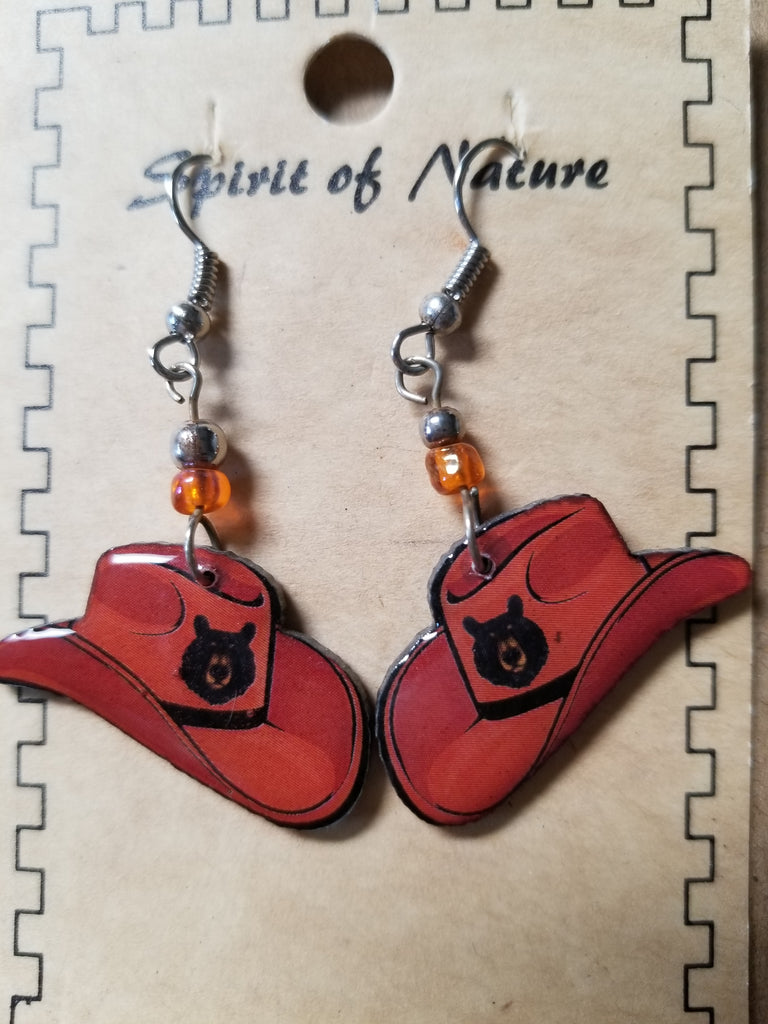 Hand painted amber or deep purple hat earrings with black bear
