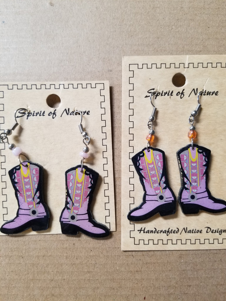 Hand painted lavender cowboy boot earrings