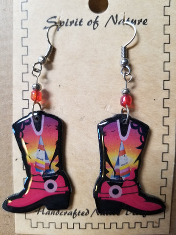 Hand painted cowboy boot earrings with a sail boat
