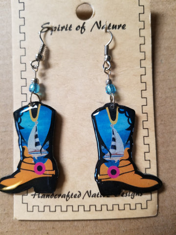 Cowboy boot earrings - Hand painted tan base with sailboats and blue skies -
