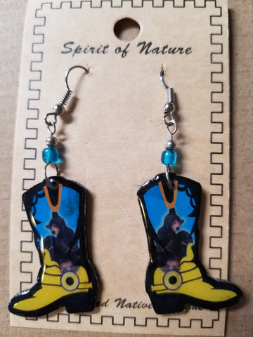Cowboy boot earrings - Hand painted yellow base with black bear