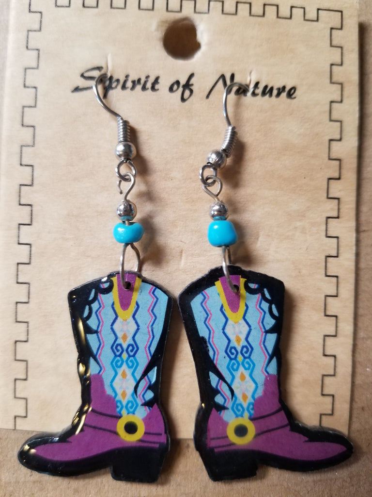 Hand painted Cowboy boot earrings with purple base and blue and yellow uppers
