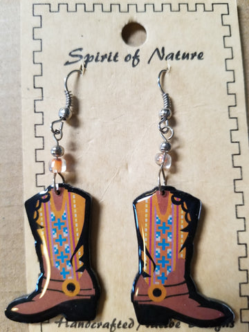 Hand painted Cowboy boot earrings with a tan base