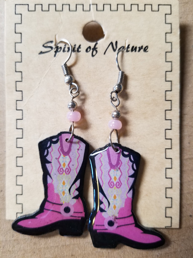 Hand painted Cowboy boot earrings with a dark pink base