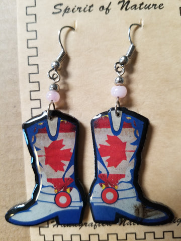 Hand painted Cowboy boot earrings with fall leaves