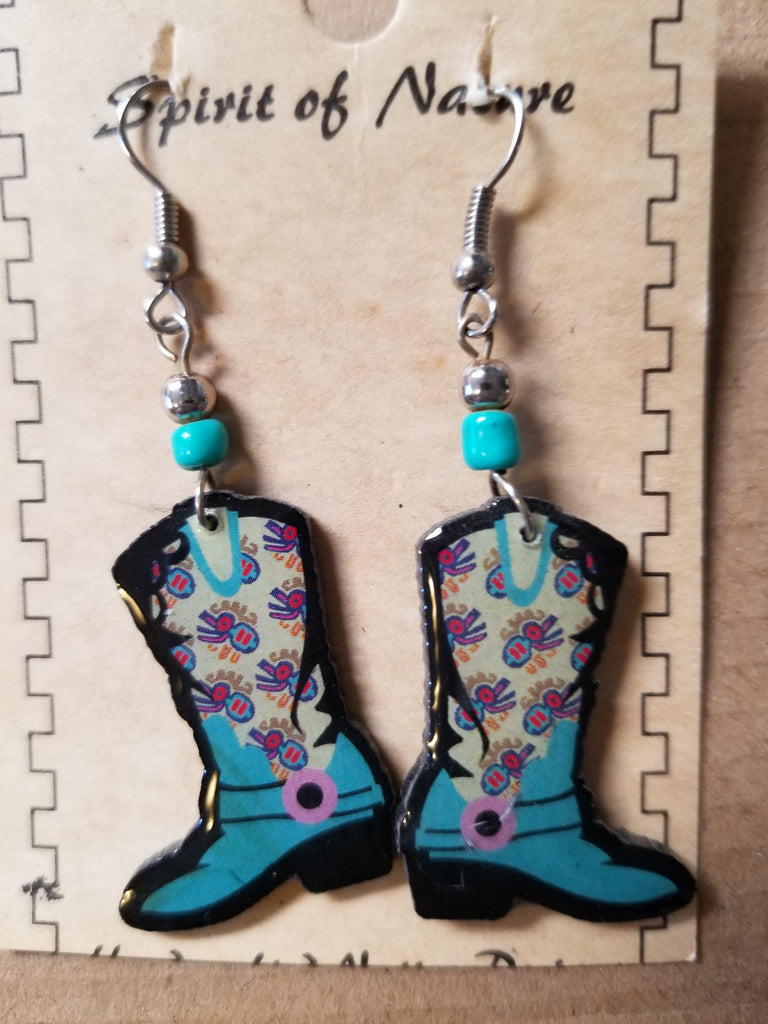 Hand painted Cowboy boot earrings with a blue base