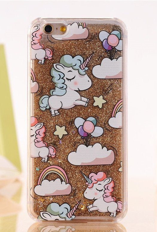 Unicorn iPhone Case Cover with Liquid Glitters