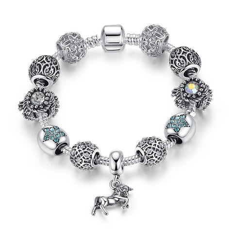 Silver-Plated Horse Charm Bracelet