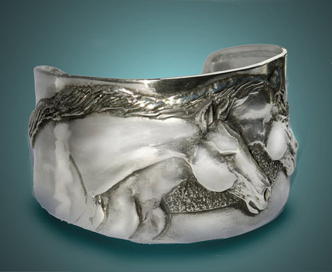 Two Horse Heads cuff bracelet handmade USA