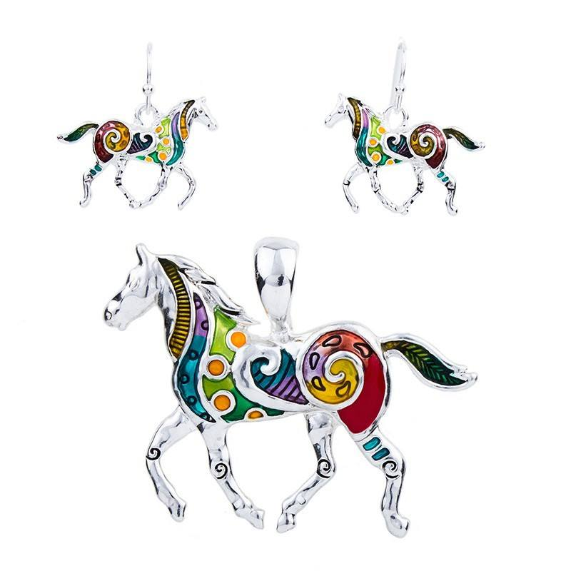 Colorful Horse Pendant Necklace & Earrings Set - Zana Horse - 1