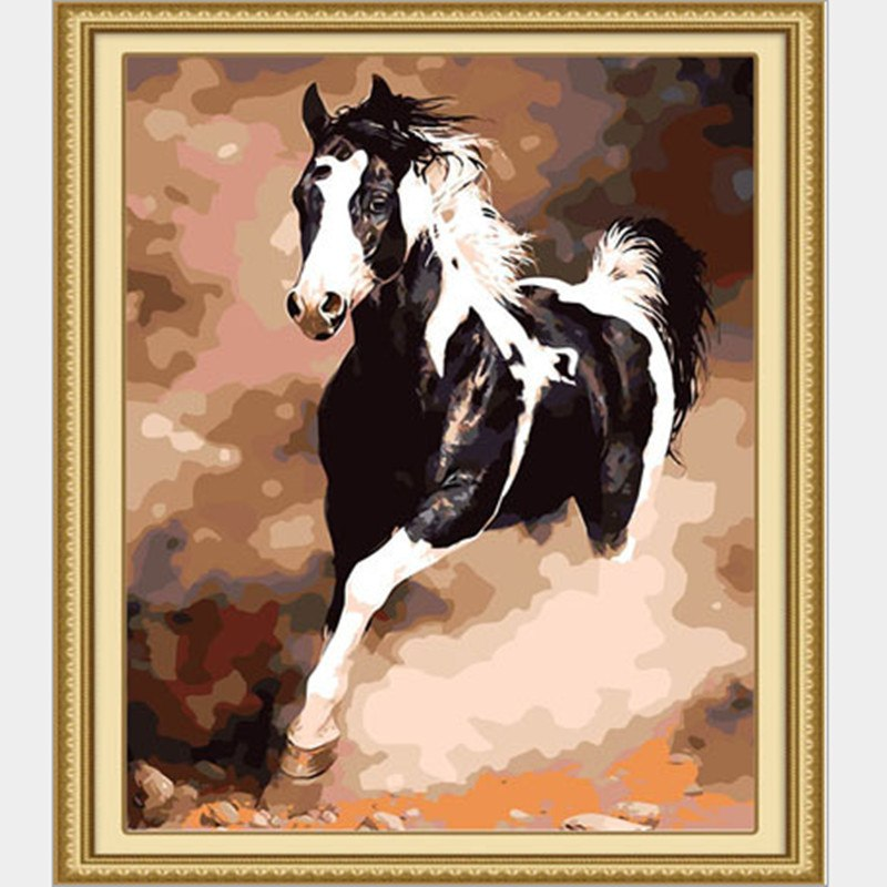 Painting By Numbers Black White Horse Zana Horse