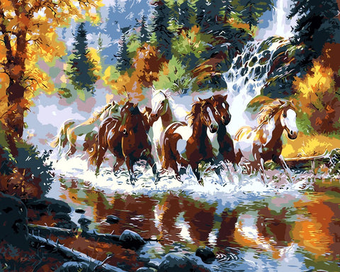 Painting By Numbers - Galloping Horses