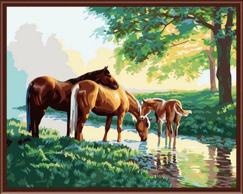 Painting By Numbers - Horse Family