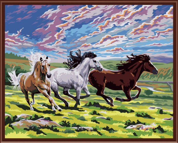 Painting By Numbers - Three Running Horses - Zana Horse - 1
