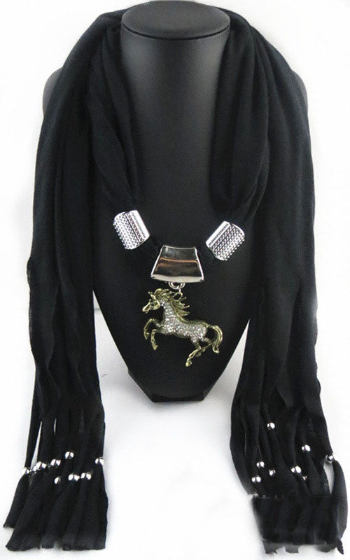 Necklace Scarf with Horse Pendant - Zana Horse - 4