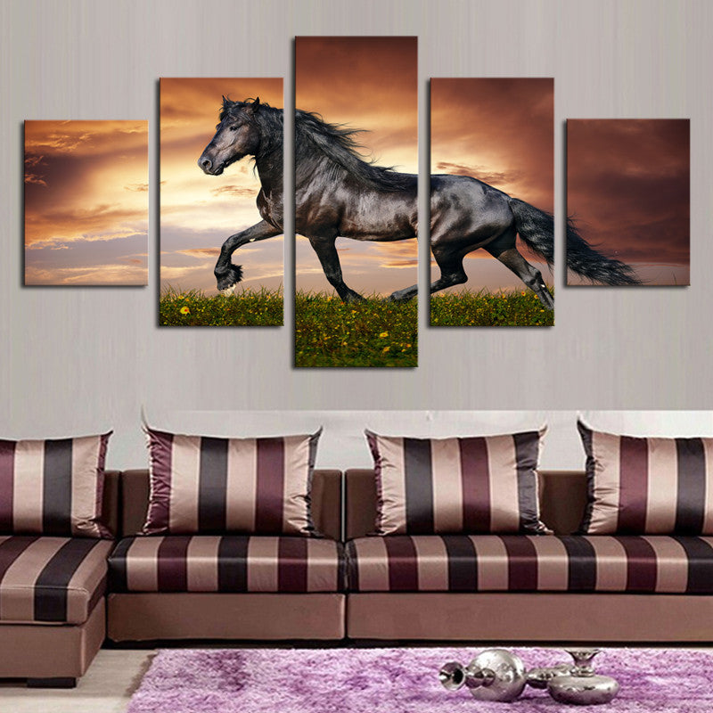 Wall Art Decor - Black Horse Sunset - Zana Horse