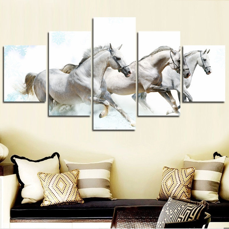 Wall Art Decor - White Horses - Zana Horse