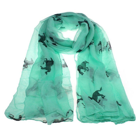 Silk Scarf with Running Horse Print