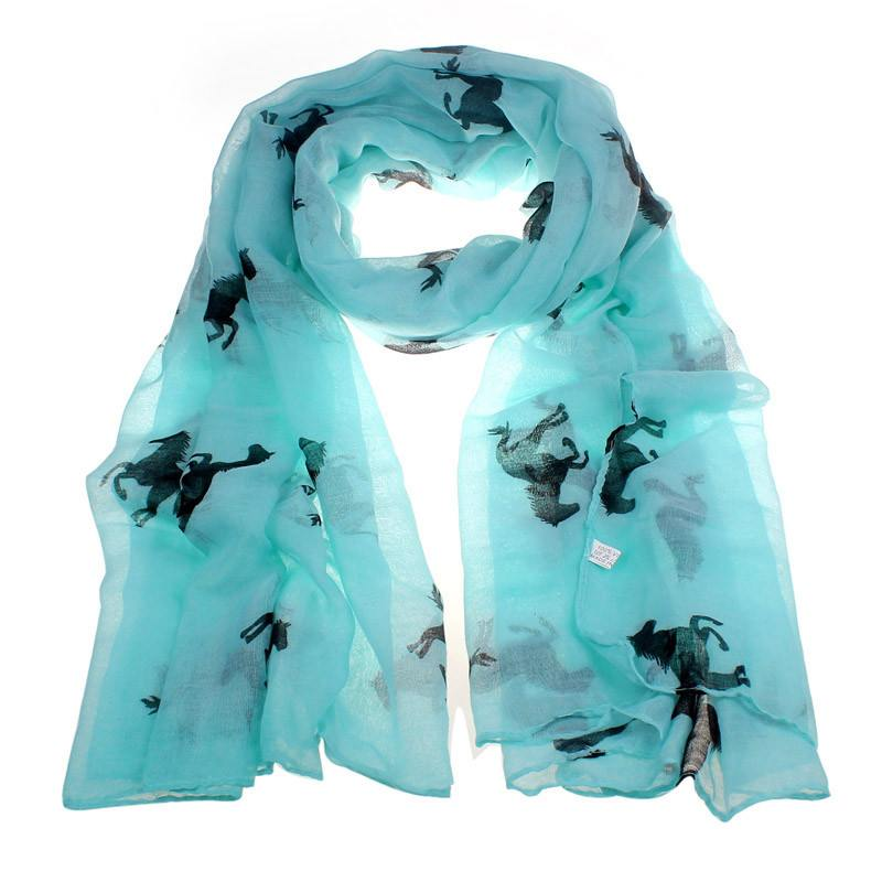Silk Scarf with Running Horse Print - Zana Horse - 5