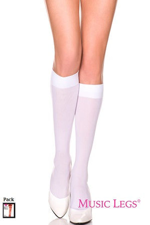 Music Legs Opaque Knee High Socks - White One Size Fits Most