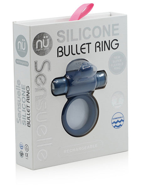 NU Sensuelle Silicone Bullet Ring Navy Blue