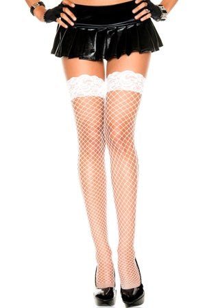 Music Legs 49317 Spandex Mini Diamond Net Lace Top Silicone Stay Up Thigh High Stockings OS - White