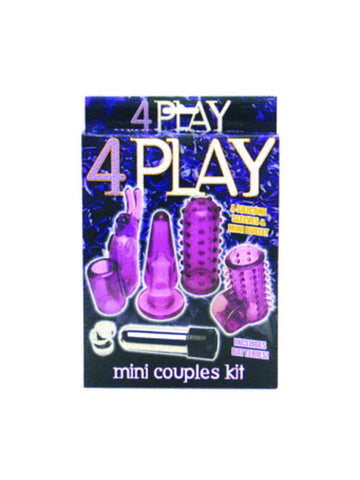4 Play Mini Couples Kit - Purple - Includes Mini Vibrating Bullet and Four Sleeves
