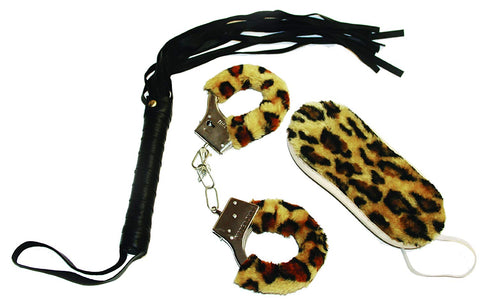 Sex & Mischief - Wild About S & M Kit - Animal Print Bondage Kit with Faux Leather Flogger