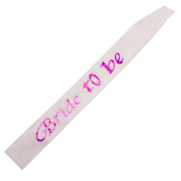 Hens Night White Bride To Be Flashing Sash