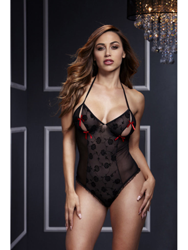 Baci Lace Bodysuit w/ Bra Slits Red Bow OS Black