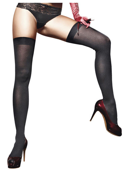 Opaque Thigh High Stockings One Size Black - BACI